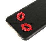 Caja de cuero del teléfono con los labios rojos atractivos para el iPhone