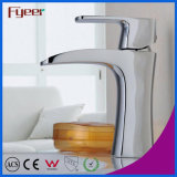 Fyeer Chrome Plated Simple Waterfall Single Handle Wash Basin Torneira de bronze Torneira de mistura de água Wasserhahn