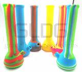Tubi di acqua pieghevoli portatili del silicone per il fumo dei tubi infrangibili della plastica del metallo del concentrato dell'olio della caffettiera a filtro dell'acqua dell'erba asciutta