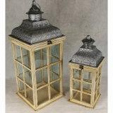 Wooden&Metalのガラス屋外の旧式な庭の蝋燭のランタン