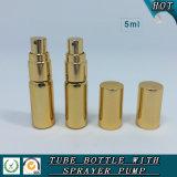 bottiglia di profumo di vetro dello spruzzo dell'oro 5ml con la pompa dell'oro