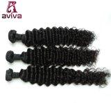 ペルーの深い波のバージンの毛の倍のWeft人間の毛髪の拡張自然な黒