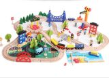 Nova Moda 108 PCS CONJUNTO TREM DE MADEIRA brinquedo para crianças e crianças
