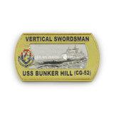 Het verticale Muntstuk van de Uitdaging van de Heuvel van de Bunker van Uss van de Zwaardvechter