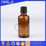 Whosale bernsteinfarbige wesentliches Öl-Glasflaschen mit schwarze Tamperproof offensichtliche Schutzkappen-Glasflasche mit Öffnungs-Reduzierstücken