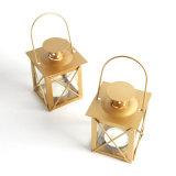 Sostenedor de vela clásico del metal del cuadrado del oro