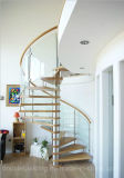 Escalier en spirale en verre avec raillerie en acier inoxydable