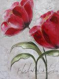 Une grande peinture d'huile à la main pour salle de séjour avec un style de fleurs de couleur rouge