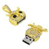 Impulsión de la pluma del flash de oro cristalina del diamante búho genuino Capacidad USB