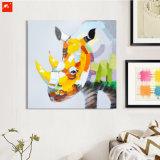 Pintura al óleo hecha a mano del rinoceronte de Clolourful