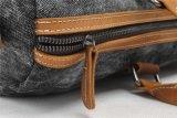 Borsa lavata dell'uomo del tessuto della tela di canapa del cuoio genuino (RS--1011)