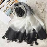 Hot la vente de traitements dégradants imprimé de polyester Lady foulard avec des glands (HP17)