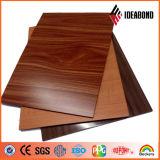 Pared y techo de madera ACP del grano de la madera del precio bajo 2017