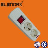 Elektrische Contactdoos 2 Gat met Switch on/weg en Kabellengte 1.5m/3m (E5002ES)