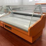 Culved Glass Deli Case Carne Display Cooler para la tienda de carnicería