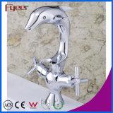 Fyeer Original Dolphin Dual Handle Torneira de lavatório de banheiro Torneira de mistura de água quente e decapado