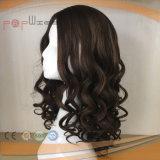 Peluca superior de seda de gama alta de las mujeres de la tecnología de la Virgen del 100% de Remy de la relación de transformación humana del pelo (PPG-l-0886)