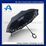 C 손잡이 Handfree 선전용을%s 똑바른 우산 23 인치 거꾸로 되는 차