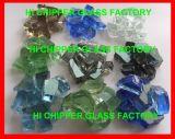 Die Landschaftsgestaltung des Glases bricht hellpurpurne Kürbis-Glasspiegel-Schrotte ab