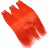 Red Color 100% Remy Human Hair Weft
