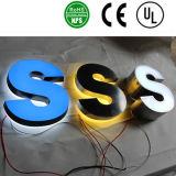 스테인리스 리버스 채널 편지, 파란 LEDs.를 가진 달무리 Lit