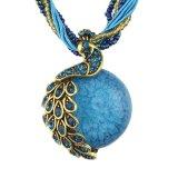 De Halsband van de Tegenhanger van de Pauw van de Steen van parels met Multilayer Turkse Juwelen van de Ketting