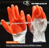K-84 полиэстер/Нейлон с покрытием из ПВХ рабочие перчатки