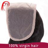 도매 Barzilian Virgin 머리 똑바른 레이스 4× 4명의 인간 마감