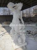 Hete Verkopende Hand die Natuurlijke Marmeren God Poseidon van het Overzees snijden Dame Statue (sy-MS132)