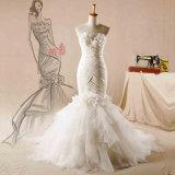 Trägerloses Blumen-Taft-Organza-Nixe-Hochzeits-Kleid