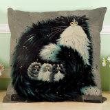 白黒猫の車の枕ソファーのクッションのパターンによって印刷される綿および麻布の枕セット