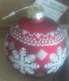 Esfera de vidro variado de Natal com adesivo de Veado Vermelho e Branco