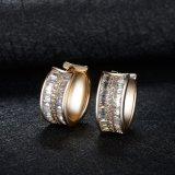 Pendiente de la joyería del espárrago de la piedra del Zirconia del oro de la boda del contrato