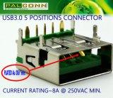 5 Pin-weiblicher Verbinder für Energien-Adapter, Energien-Bank. Stützschnelle Ladung, Nennbargeld: 8A@250VAC
