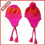 冬のアクリルの編まれたジャカードかぎ針編みの帽子