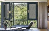 Salto térmico de ahorro de energía Casement ventana con la pantalla de mosquitos