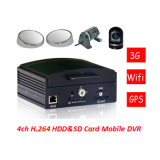 Mini-HDD&SD Card Mobile DVR mit Cycle Recording Function CCTV Surveillance H. 264 4CH Car DVR für Car Security DVR