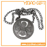 Kundenspezifische schwarze Medaille mit Metallkette (YB-MD-60)