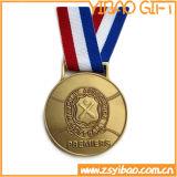 El metal al por mayor de la aleación del cinc se divierte la medalla con la cinta modificada para requisitos particulares de la insignia