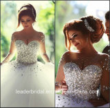 Кристально чистый звук устраивающих шарик Gowns длинными рукавами валика клея сверкание свадебные платья Z2016