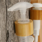 Pompe cosmétique de lotion avec le chapeau en bambou