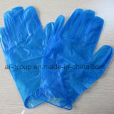 青いビニールの軽く粉にされた使い捨て可能な手袋(100)