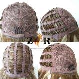 긴 파도치는 브라운 색깔 합성섬유 여자 가발
