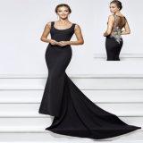 Черный атласный валика клея Русалки вечерние платье