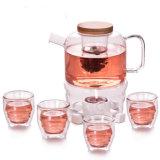 Design criativo de chá de vidro de chá de vidro borossilicato Dom chaleira de vidro definido