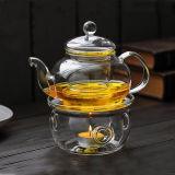 Scaldino di vetro della teiera del tè dell'insieme di tè del POT del riscaldatore della base di vetro di vetro dello scaldino