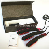 Cepillo de cerámica de la enderezadora del pelo del nuevo del anión 2016 del pelo de la enderezadora de Nasv cepillo recto rápido profesional del pelo con la visualización del LCD