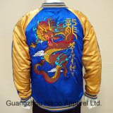 品質の刺繍のサテンのボマージャケットは綿パターンとキルトにした