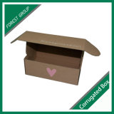 Contenitore di imballaggio ondulato stampato abitudine del Brown della casella ondulata senza colla