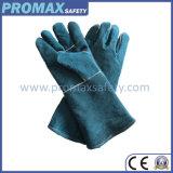 De groene Handschoenen van het Lassen van de Hand van het Leer van de Koe Beschermende